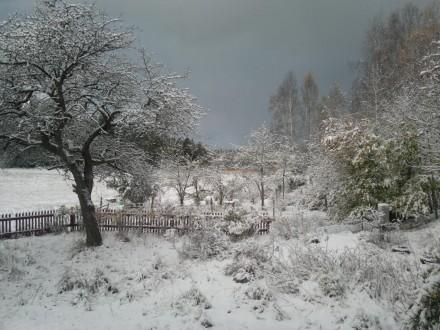snö från köksfönstret oktober